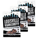 Louisville Vegan Jerky - Smoked Black Pepper, Vegetarian & Vegan-Friendly Jerky, 21 Grams of Non-GMO Soy Protein, 240 Calories Per Bag, Gluten-Free Ingredients (3 oz, 3-Pack)