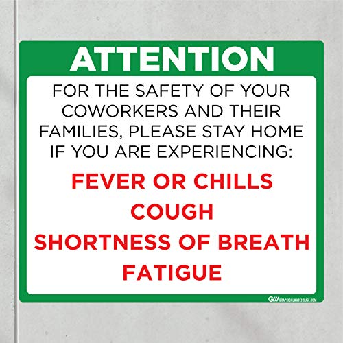'Do Not Enter Office with Symptoms' COVID-19 (CORONAVIRUS) Adhesive Durable Vinyl Decal- (Various Sizes Available) Sign by Graphical Warehouse- Safety and Security Signage (11.25x9.65', Green)