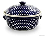 Bunzlauer Keramik Brottopf mit Deckel rund, 36,5 x 23,0 cm, Dekor 42