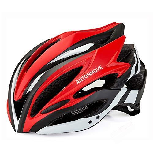 LXJ - Casco de ciclismo para hombre, cómodo, transpirable, para bicicleta de carretera, totalmente moldeado, Hombre, rojo