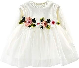 Vestido para Bebés Niñas de Malla Vestido de Gasa de Mangas Largas para Boda Fiesta Falda Princesa Tutú Tul para Niñas de 0-24 Meses