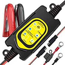 ULTRAPOWER 6V/12V Battery Bharger and Maintainer,1.5A Automatic Intelligent Charger,Trickle Charger,Floating Charger,Suitable for Cars,Motorcycles,Tractors,AGM,Gel Battery Lead-Acid Battery?Yellow?