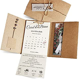 25-Pack Rustic Wedding Invitations with Photo by Picky Bride, Vintage Save The Date, Unique Invite Cards, Kraft Paper Envelope Included 12 x 17cm - Set of 25 pcs