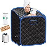 Giantex Portable Steam Sauna Spa 2L Folding Private Sauna Tent W/Chair Foot Massage Roller Absorbent Pad and 9 Adjustable Temperature Levels Spa Tent for Weight Loss Stress Fatigue (Blue)