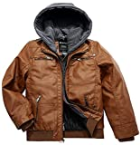 Wantdo Boy's Vintage Leather Motor Jacket Spring Outwear Coat Brown Thick US 14/16