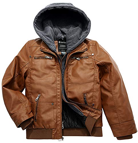 Wantdo Boy's Faux Leather Jacket Motorcycle Biker Kids Spring Coat Brown US 10/12