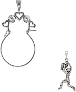 Mireval Sterling Silver 3D Basketball Charm on an Optional Charm Holder