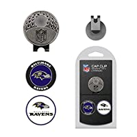 Team Golf NFL Baltimore Ravens Golf Cap Clip with 2 Removable Double-Sided Enamel Magnetic Ball Markers, Attaches Easily to Hats