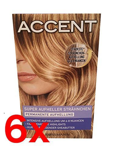 6x Accent Haarfarbe Super Aufheller Strähnchen Permanente Aufhellung - BLOND -