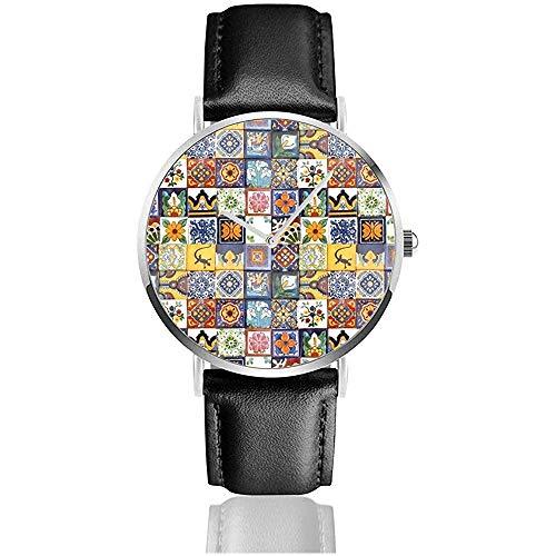 Talavera Mexican Tiles Uhr für Männer Herren Pu Leder Uhr Slim Casual Armbanduhr