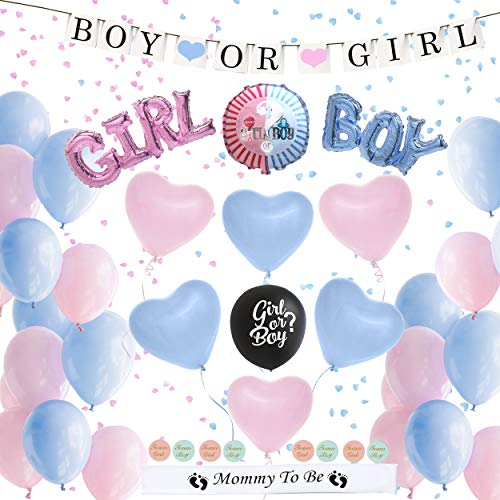 Gender Reveal Party Supplies (72 Piece) / Boy or Girl Baby Shower Confetti Balloons, Decorations for Pregnant Moms / Large Blue & Pink Heart Balloons / Gender Reveal Balloon / Black Balloon / Mommy to