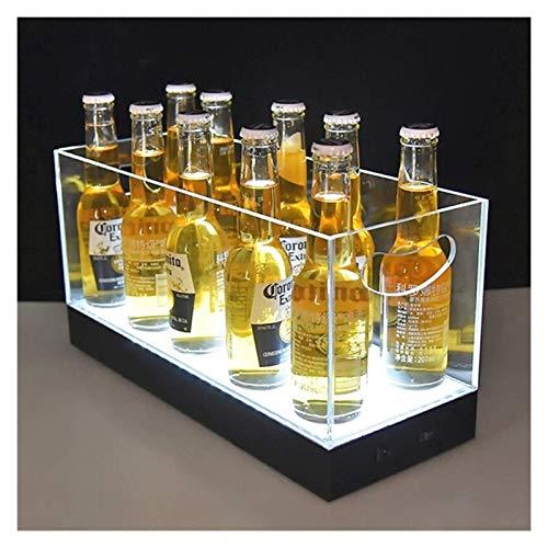 GPWDSN Secchiello per Il Ghiaccio a LED, Secchiello per Il Ghiaccio a LED Luminoso Acrilico Trasparente, Secchiello per Il Ghiaccio a LED Rettangolare per Cocktail di Vino Rosso Champagne, per Feste