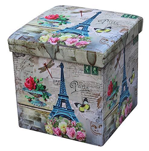 D&D Quality Puff Almacenaje Plegable, Asiento Acolchado, 38 x 38 x 38 cm - Exterior Suave Piel Sintética - Caja Almacenamiento Cuadrada (Paris)