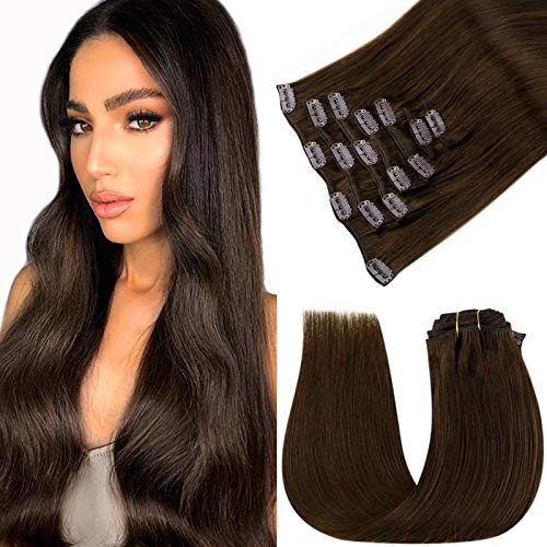 Clip in Human Hair Extensions Brown LaaVoo Clip in Real Hair Extensions 100% Remy Human Hair Clip in Brown Hair Extensions Double Weft Dark Brown Clip in Hair Extensions 20' 120g/7pcs