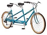 Schwinn Twinn Classic Tandem Adult Beach Cruiser Bike, Double Seater, Steel Low Step Frame, 7-Speed, 650c Urban Tires, Alloy Caliper Brakes, Medium Frame, Blue