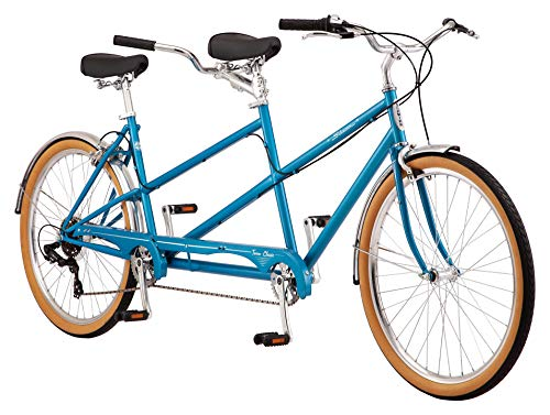 Schwinn Twinn Classic Tandem Adult Beach Cruiser Bike, Double Seater, Steel Low Step Frame, 7-Speed, 650c Urban Tires, Alloy Caliper Brakes, Medium Frame, Blue