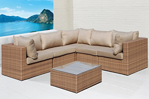 Wholesaler GmbH Sofa Lounge Set 6 TLG. Gartensitzgruppe braun Outdoor Sitzgruppe Poly Rattan
