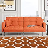 Orange Sleeper Futon Sofa Bed Couch, Convertible Orange Futon Recliner (Sofa to Bed Feature), Modern Plush Tufted Linen Fabric Splitback Lounger, Reclining Futon Sofa Beds for Living/Small Space Room