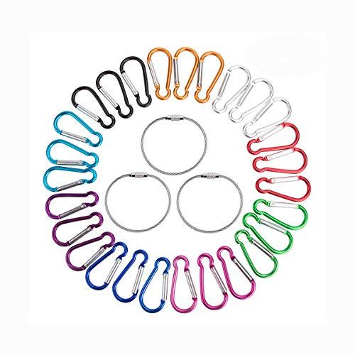 27pcs moschettone,moschettone in alluminio moschettone moschettone anello clip moschettone portachiavi durevole accessori da campeggio per pesca all'aperto escursionismo viaggi(9 colori) (Gourd shape)