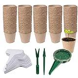 Woohome 153 Pz Macetas de Semillas Biodegradables, 100 Pz Semilleros Biodegradables Macetas de Turba para Las Plántulas, Etiquetas de Plástico, Herramientas de Transplantación para Plantas