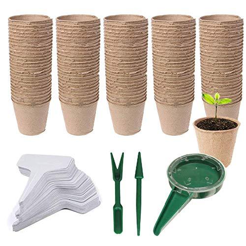 Woohome 153 Pz Macetas de Semillas Biodegradables, 100 Pz Semilleros Biodegradables Macetas de Turba...