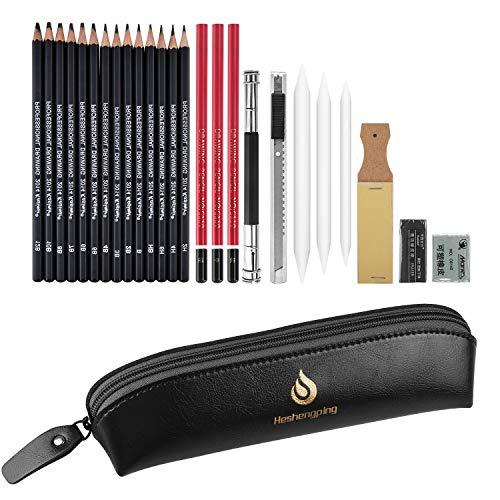 Set di matite per schizzi e disegno-26 pezzi, kit per il disegno di materiali artistici, set di matite professionali in grafite e carboncino, bambini e adulti principianti artista studente (Stile1)