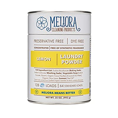 Meliora Cleaning Products Laundry Powder, Lemon, 128 HE (64 Standard) Loads