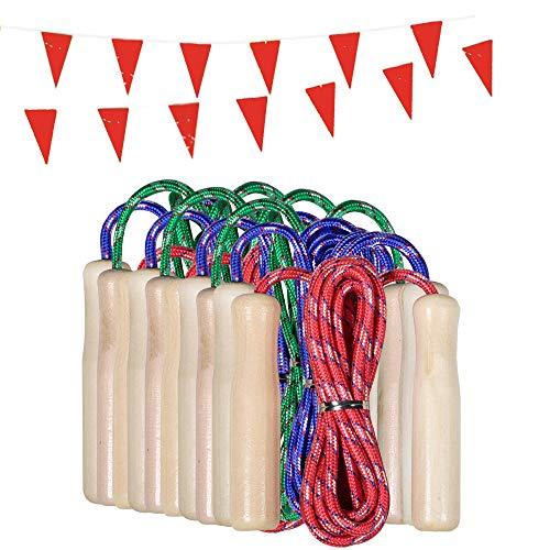 Partituki Packung mit 10 Springseilen. Holzgriff Springseile. Ideal für Spiele im Freien und Kindergeburtstagsgeschenke.