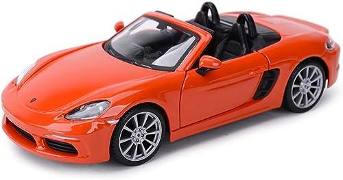 KaKaDz Wei KKD Voiture de Sport décapotable 1 24 Porsche 718 Boxster Alliage Cadeau décoration Adulte Collection Enfants Jouet Voiture modèle de Voiture Simulation Véhicule ( Couleur   Orange )