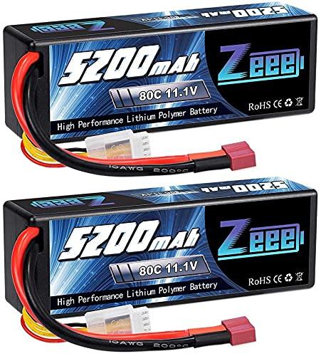 Zeee 3S LiPo Akku 11,1V 80C 5200mAh Hardcase Batterie mit Deans T Steck für RC Auto, RC Flugzeug, RC Hubschrauber, RC Hobby (2 Packungen)