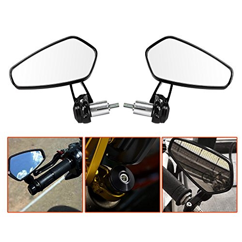 "LeaningTech 7/8"" Motorcycle CNC Billet Aluminum 22 Handlebar Bar End Mount Glare Rearview Sports Side Mirrors Black"