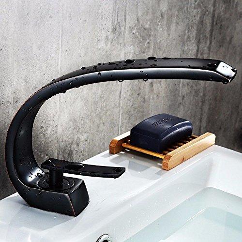 LHbox Die Kupfer Schwarz Armatur Waschtisch Armatur Retro Kreative Werkbank Töpfe von Lack und Kaltes Wasser Armaturen, Schwarz