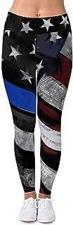 Thin Blue Line American Flag Leggings - Women's Print Fitness Stretch Leggings