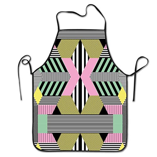 VimcustomPr Delantal unisex estilo retro Bauhaus overlock durable lavable ajustable pinafore para cocinar hornear
