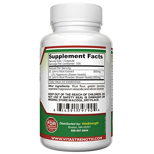 St. John's Wort - 500mg x 100 Capsules - Saint Johns Wort Extract Mood Support - Promotes Mental Health & Positive Emotional Wellness