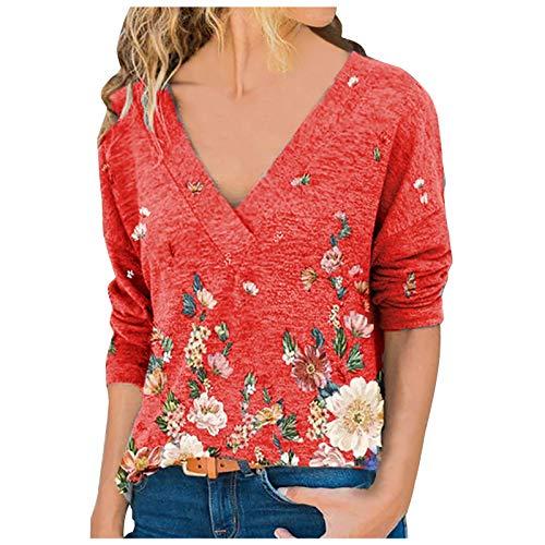 Camiseta de Manga Larga Mujer, 2021 Moda Impresión Casual Diario Cuello en V Camiseta Blusas básica Camiseta Suelto Suéter Camisas Sudadera Chaqueta Top Jersey tee