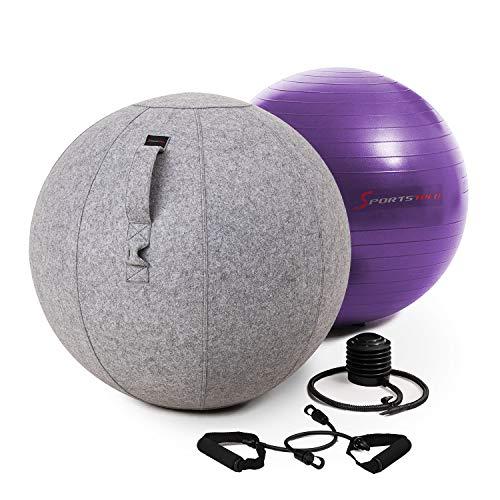 Sportstech Gymnastikball 65cm - Zuhause & Büro   Sitzball ergonomisch für Yoga, Pilates, Schwangerschaft & Home Gym   Massage Ball/ Balance Stuhl, Beckenboden Trainingsgerät + Fitness Zubehör  YOBA100