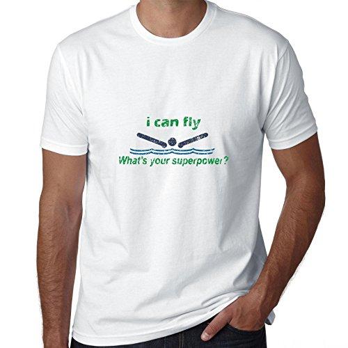 Ik kan vliegen wat is jouw supermacht? Zwembad T-Shirt voor heren