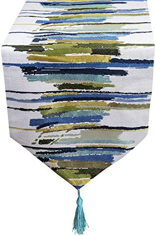ELVEDO Stripe Tassel Table Runner Colorful Table Runners with Tassels Washable for Coffee Table product image