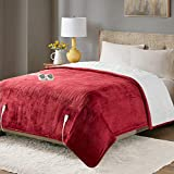 Degrees of Comfort Sherpa Soft California King Electric Blanket with Dual Controls, Heating Blankets | Washable | 1-10 Hour Automatic Shut Off | Double Zone, 20 Heat Settings | 100' x 94' Red