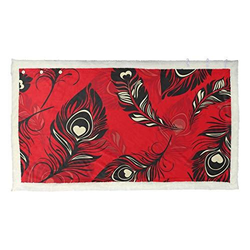 DXG1 Plumes Rouge Couvre-lit pour femme Adulte Poncho Cape Châle Wrap Chaise Canapé Doux Doux Léger Luxueux Cozy Chaud Accessoires Femmes Hommes