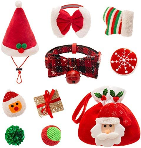 PUPTECK 9 PCS Christmas Cat Toys Set Cat Collar Soft Ball Catnip Bag Pet hat Plush Toys Crinkle product image