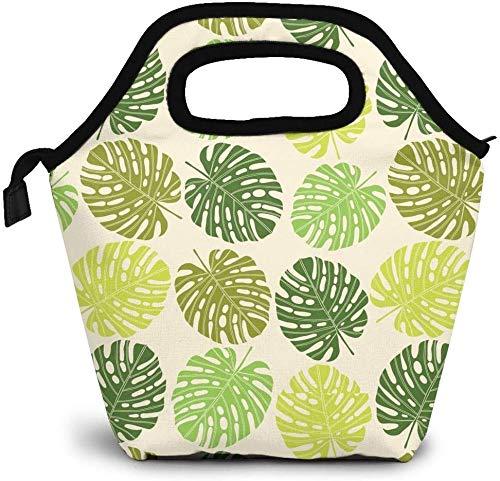 Bolsa de almuerzo con diseño de hojas coloridas Monstera, planta tropical, enfriador con aislamiento térmico, reutilizable, lonchera, bolso portátil para hombres, mujeres, trabajo escolar, niños, niñ