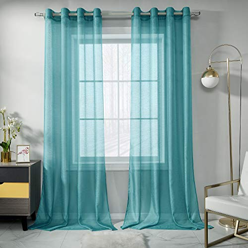 RAIN CITY Teal Sheer Curtains 108 Inch Length Set 2 Panels for Living Room Semi Voile Sheer Drapes Solid Luxury Grommet Teal Textured Sheer Curtains for Patio Outdoor Decor 52 X 108 Inches 9 FT Long