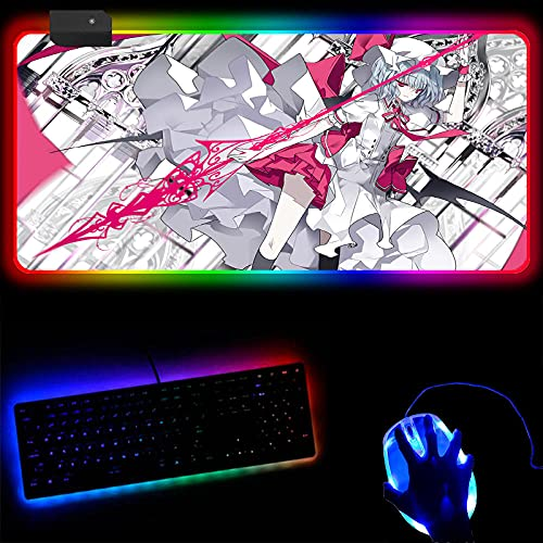 RGB Gaming Mouse Pads Anime Touhou Project RGB Gaming Mouse Pad Led Computer Keyboard Mat for Office and Home Games Large Mousepad with Backlight 30x90x0.4cm
