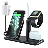 3 in 1 Wireless Charger, FDGAO Wireless Charging Station for Apple iWatch Series 5/4/3/2, AirPods Pro/2, 15W QI Fast Charging Stand Compatible with iPhone 11/XR/XS/X/8/8 Plus/Samsung (Black1)