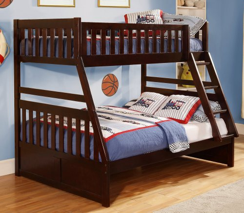 Homelegance Rowe Twin/ Full Bunk Bed in Dark Cherry Twin/ Full w Trundle
