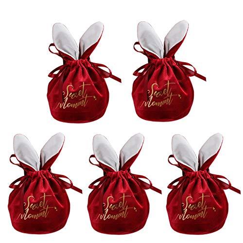 AUTOECHO 5 Stück Stoff Ostern Geschenktüten Mit Hasenohren, Hochzeitsfeier Candy Treat Bag, Süße Süßigkeiten Taschen Für Hochzeitsfeier Kleines Geschenk