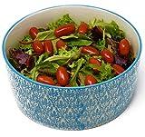 LA VITA VIVA Salatschüssel aus Keramik - Servierschüssel mit weiß Blauer Bemalung Geeignet auch...