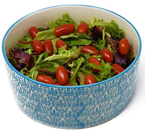 LA VITA VIVA Salatschüssel aus Keramik - Servierschüssel mit weiß Blauer Bemalung Geeignet auch als Suppenschüssel, Servierschale, Snackschüssel und für Aufläufe/Überbacken